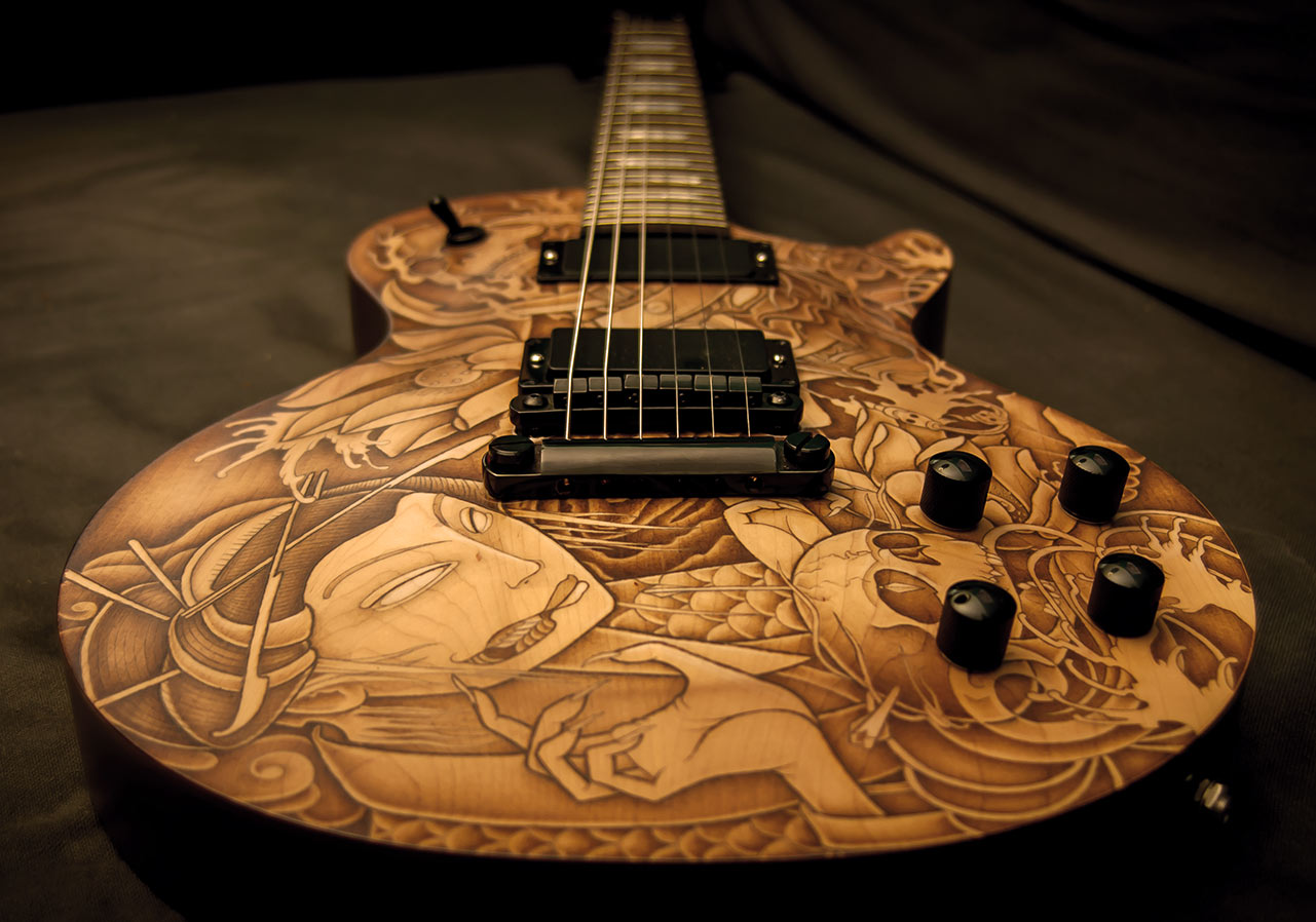 les paul custom guitar tattoo 8