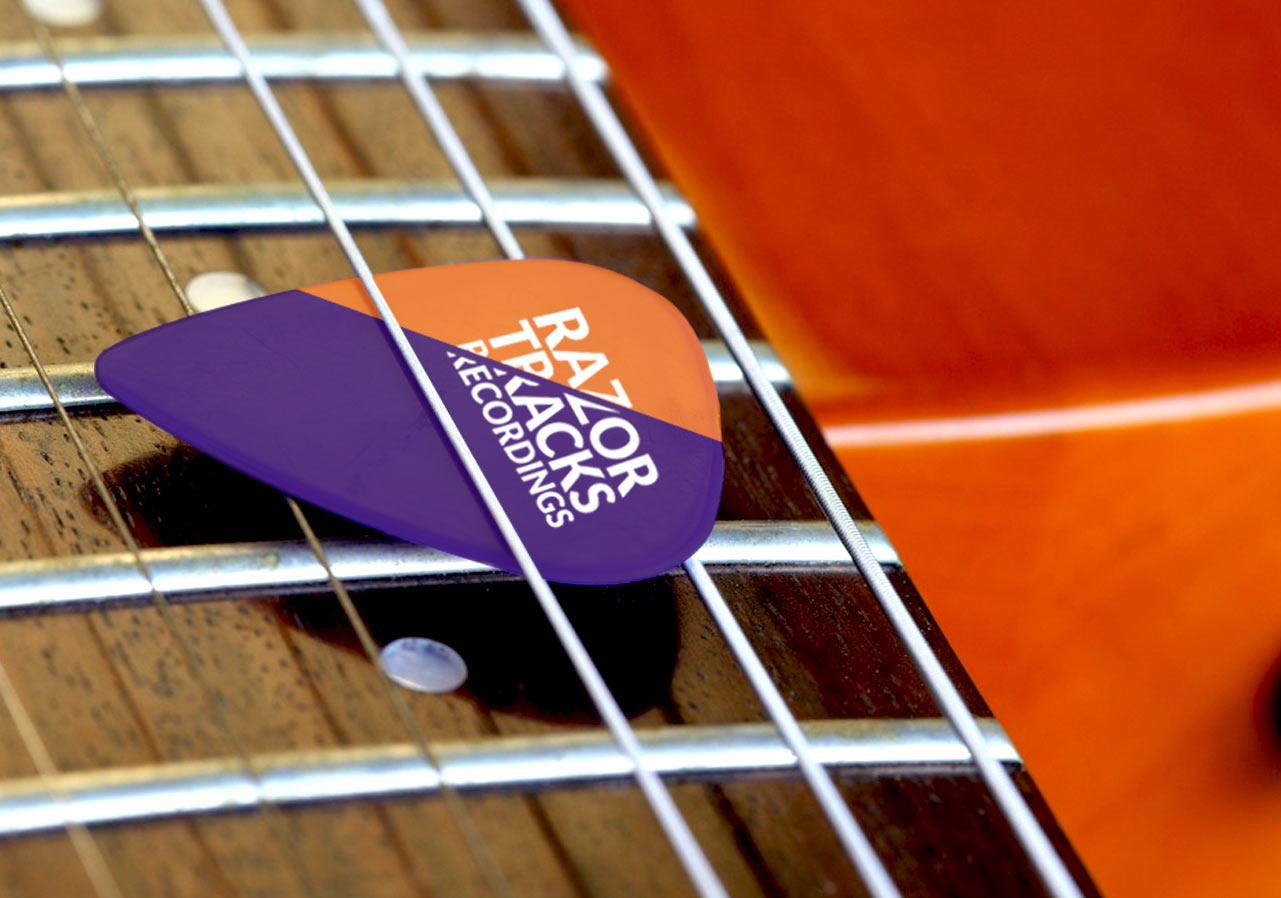logo recording studio guitar pick