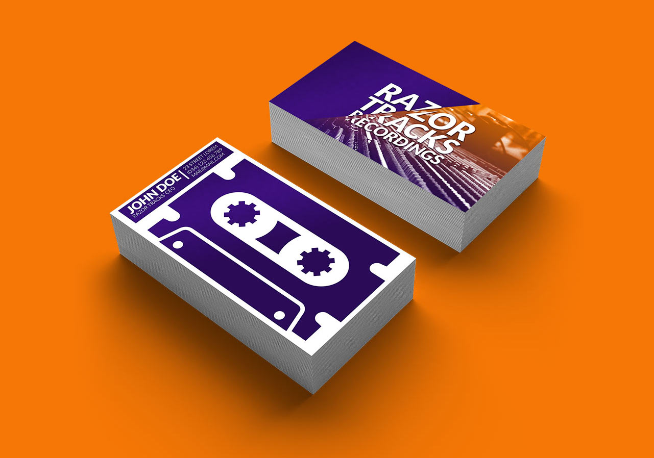 logo recording studio business card